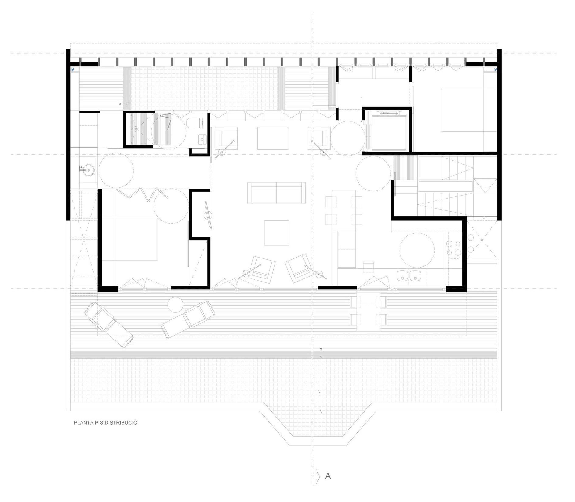 Planta de distribución de proyecto de remonta en edificio unifamiliar, Barcelona. Diseño de estudigaau arquitectes